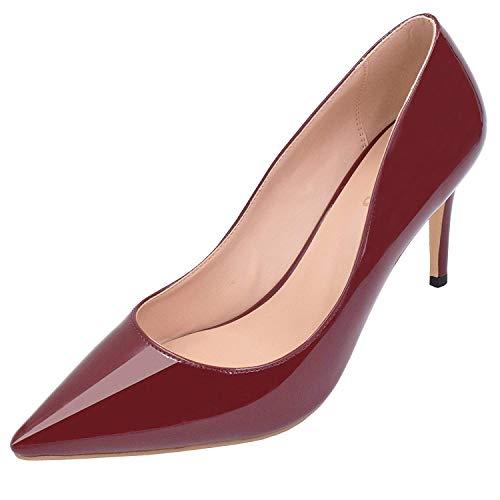 Office Toe Lovirs Teräväkärkiset Juhlamekko Stiletto Naisten Basic Kengät Kantapää Viininpunainen Luistaa Puolivälissä Pumppujen zq5Apw4q