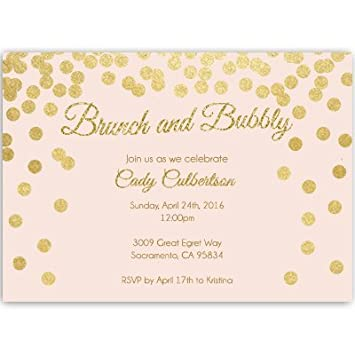 bridal shower invitations pink and gold confetti glitter blush gold