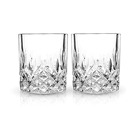Viski Admiral Whiskey Tumblers Set of 2 Lead-Free Premium Crystal Clear, Classic Lowball Cocktail, Scotch Glass Gift Set…