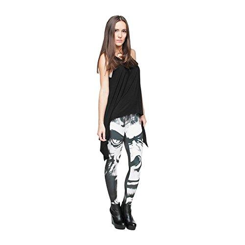 Hanessa Frauen Leggins Bedruckte Leggings Hose Frühling Sommer Kleidung Gorilla Schwarz Weiß L94