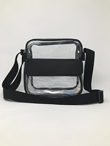 Allswell Clear Stadium Cross Body bag for any sporting event- Approved 10''x10''x3.5'' size for NCAA or any other stadium- Professional Grade Quality Guaranteed See Through Bag by Allswell