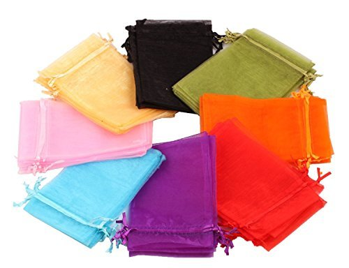 GBSTORE 100 Pcs Mixed Color 5x7 Inches Wedding Party Favor Satin Drawstring Organza Bags Pouch