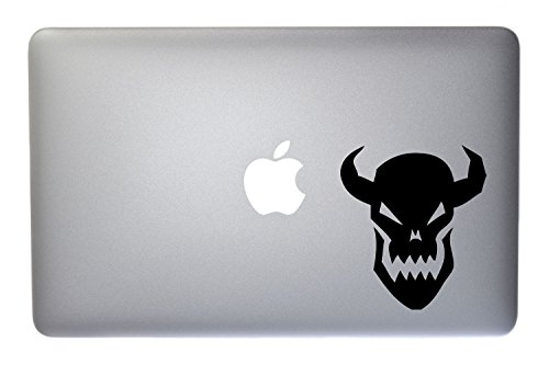 Laughing Demon Monster Skull Face with Horns - 5 Inch Black Vinyl Decal for Macbook, Laptop or other device