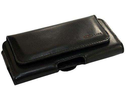 OrLine Echt Leder-Schutzhülle für Apple Iphone 6 S 4,7 Zoll mit Magnetverschluss Halterung an Gürtel mit Klammer und Schlaufe Case Handytasche Hülle Echt ledertasche Tasche Horizontal in der Farbe sch