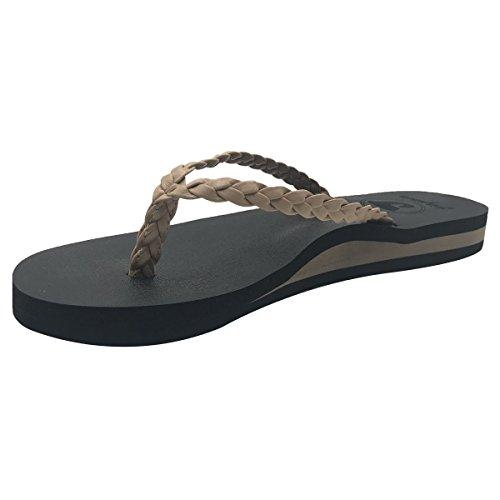 jiajiale Women's Yoga Mat Flip Flops Arch Support Braided Leather Cushioned Foam Thong Sandals Non Slip - Beige Tan Thong