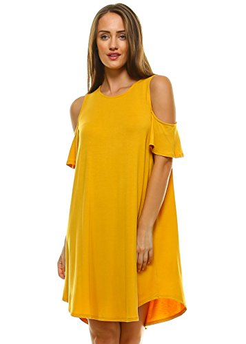 Cut Out Cold Shoulder Dress For Women Loose Swing Fit Shift Dresses