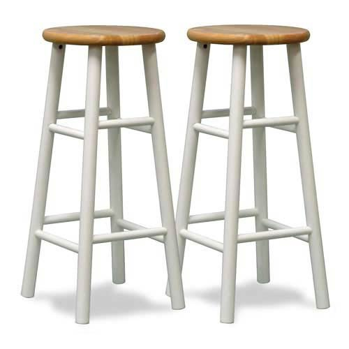 Winsome Wood S/2 Beveled Seat 30-Inch Bar Stools Nat/Wht