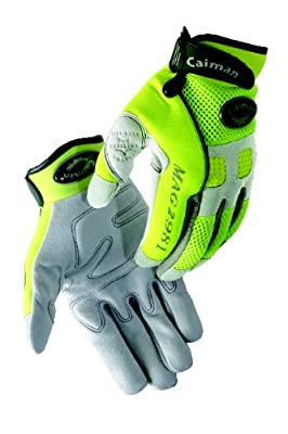 Caiman 2981-5 Large Genuine American Deerskin Multi Activity Glove with Reflective Tape, Gray and Hi Viz Lime