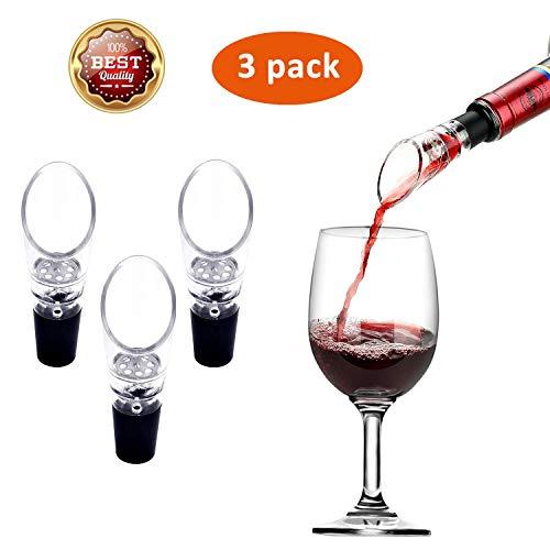Wine Aerator Pourer, 3 Pack Wine Air Aerator,Wine Aerator Essential Set Quick Aerating Pourer Wine Pouring Device,Premium Aerating Decanter Spout, Wine Aerator Pourer Wine Spout for Wine and Beverage