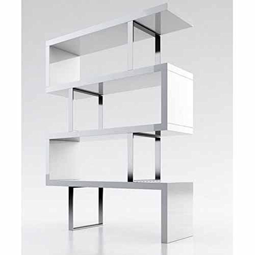 Creative Images International Cube Collection Oak Veneer Display Bookshelf With Metal Accents  Large  White Lacquer