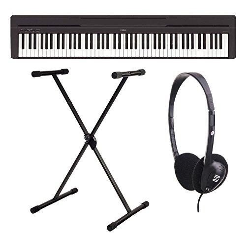 Yamaha P-45B Digitalpiano / Stagepiano SET inkl. Keyboardständer und Kopfhörer (88 Tasten, max. Polyphonie: 64 Stimmen, 10 Voices, 4 Reverb Effekte, 2 x 6 Watt Verstärker, 6 Watt, Auto Power Off, inkl. X-Ständer) schwarz