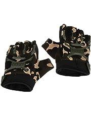 LIOOBO 1 paar fietshandschoenen Kids Sports Half Finger bergbeklimmen handschoenen voor kinderen Outdoor Army Green