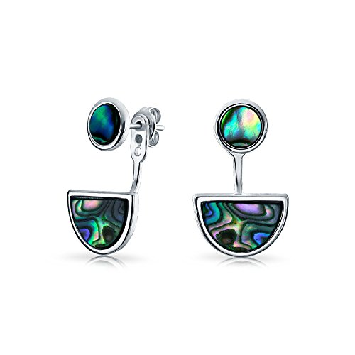 Geometric Circle Disc Half Moon Abalone Shell Front Back Earrings with Stud Removable Jacket For Women Sterling (Contemporary Earring Jackets)