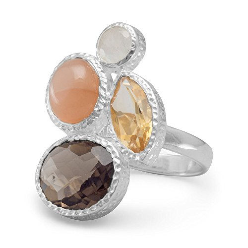 Peach Moonstone Ring (Cluster Ring with Peach and Rainbow Moonstone, Citrine, Smoky Quartz Sterling Silver, 7)