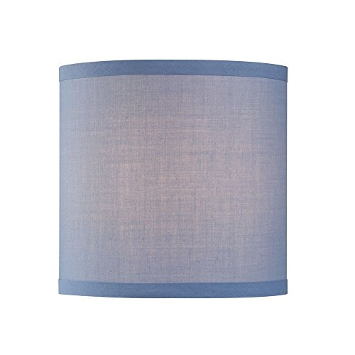 Uno Drum Lamp Shade in Blue Linen