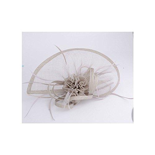 LeahWard®sac de femme Styliste modéliste Fascinator Hat Hair Accessories Wedding Hen Fête qualité Flower Feather Headband / Comb (Ash GRIS avec Headband & Clip)