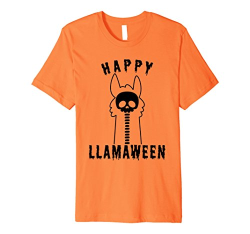 Llama Costume For Two (Mens Halloween Llama Funny Happy Llamaween T-Shirt Medium Orange)
