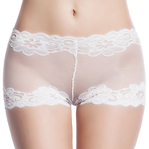Mendove Women's Lace Mesh Sexy Boyshort Panties US XXL White