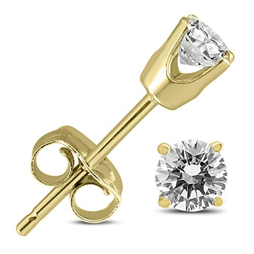 14K Yellow Gold 3/8 Carat TW Round Diamond Solitaire Stud Earrings ()
