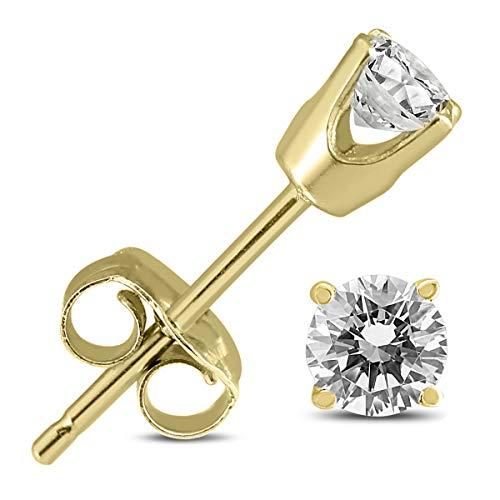 14K Yellow Gold 3/8 Carat TW Round Diamond Solitaire Stud Earrings (0.375 Ct Round Diamond)