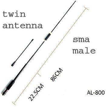 AL-800 10W Antena telescópica + Antena fija vhf/uhf 490009 ...