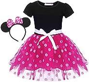 MetCuento Girls Polka Dots Costume Tulle Spliced Ballet Dress Bowknot Headband Birthday Party Princess Tutu Dr