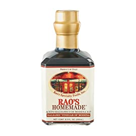Rao's Homemade Balsamic Vinegar of Modena, 8.5 Ounce Bottle 5 ALL NATURAL, PREMIUM QUALITY: Rao's Homemade Balsamic Vinegar is aged in casks made of precious woods, which give the vinegar a unique flavor, dark color, and a smooth, full-bodied taste. THE FINISHING TOUCH: Rao's Homemade is pleased to offer condiments, dressings, and sauces to give your cooking the taste of authentic Italian home cooking. CLASSIC, TRADITIONAL ITALIAN FOOD: Italian cuisine is more than spaghetti & pizza. We use traditional methods to make delicious, homemade dried pasta, sauces, sides, vegetables, cooking sauces & dressings.