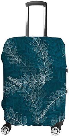 スーツケースカバー トラベルケース 荷物カバー 弾性素材 傷を防ぐ ほこりや汚れを防ぐ 個性 出張 男性と女性青い色パターン背景の葉