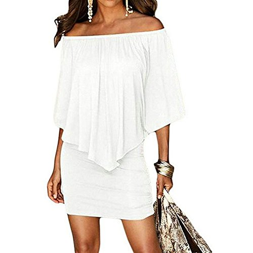 Unbranded* Women's Sexy Off Shoulder Ruffles Bodycon Party Club Mini Dress (XL, ()