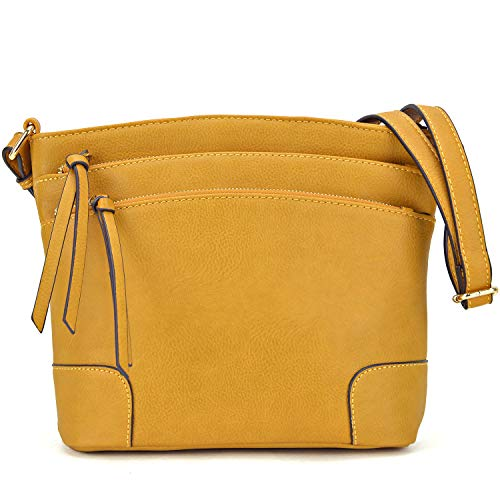 Medium 059 Purses Lightweight Women mustard for Pocket Crossbody Classic Triple Functional Messenger Zipper Bag qBpWwHg7X