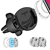 Air Vent Phone Holder for Socket Mount, VOLPORT Adjustable 360° Rotation Clip & Switch Lock Silicone Car Vent Mount with 2 Pack Pops Sticky Adhesive for Grip Stand Compatible GPS iPhone and Android