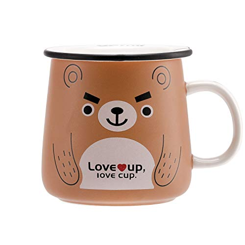 (UPSTYLE Cute Ceramic Coffee Travel Mugs with Lid Funny Animal Bear Porcelain Milk and Tea Cup for a Novelty Gift, 11 oz)
