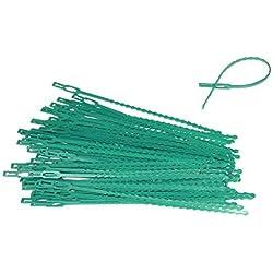 "60 pc Adjustable Plant Ties 8.5"" Green Color Flexible Plastic"