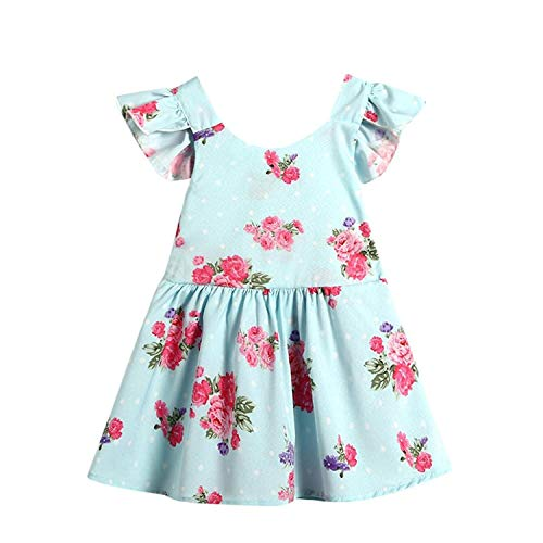 INHoney Baby Girl Backless Floral Bowknot Princess Party Dress (0-6 Months, Pale ()