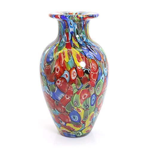 Tuumee Hand Blown Multicolor Art Glass Vase for Modern Home Decor Coffee Table Centerpieces, Hand Made and Mouth Blown,9 inches High