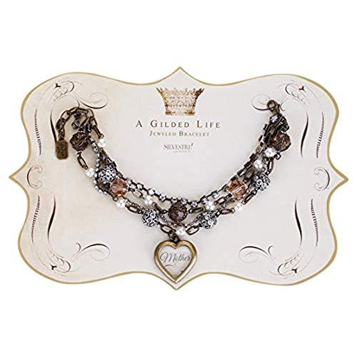 DEMDACO Mother Heart Rhinestone Pearl Beaded Antiqued Goldtone One Size Women's Metal Gilded Bracelet