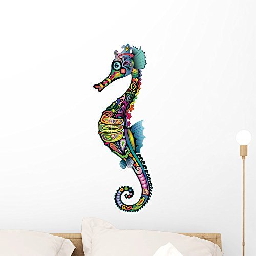Wallmonkeys Colorful Sea Horse Wall Decal Peel and Stick Animal Graphics (24 in H x 8 in W) WM421132 -