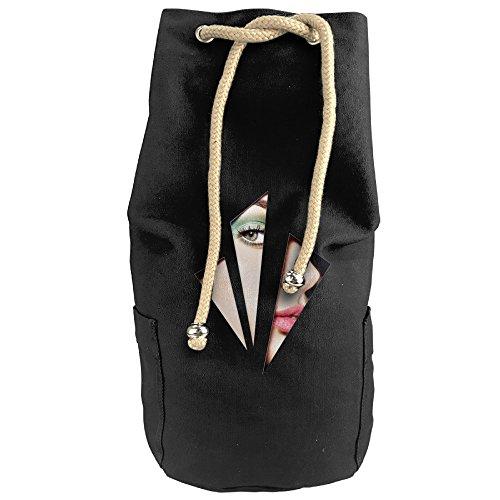 Women's Canvas Travel Bag Student Drawstring Bucket Backpack (Blue) - 3