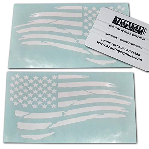 (Az AutoGraphics Pair Distressed USA American Flag Decal Die-Cut Grunge Subdued Tattered Military (White))
