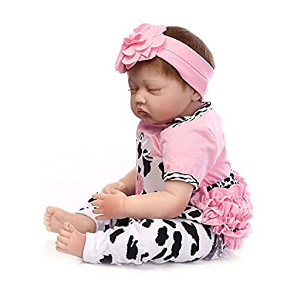 Nicery Reborn Baby Doll Soft Simulation Silicone Vinyl 22 Inch 55 Centimeter Lifelike Boy Girl Toy Pink White Dairy Cow USNR55C101: Toys & Games