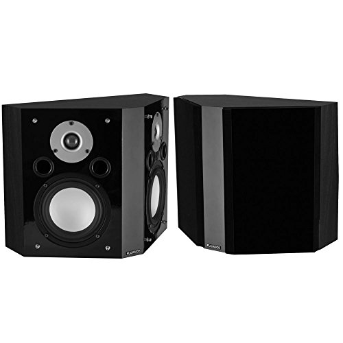 Fluance XLBP Wide Dispersion Bipolar Surround Sound Speakers for Home Theater - Black Ash by Fluance