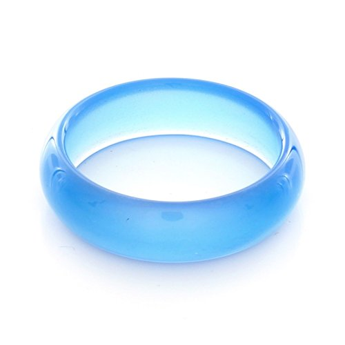 6mm Blue Agate Gemstone Plain Band Ring (6)