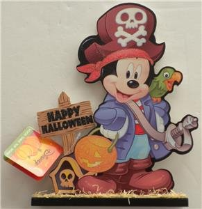 New DISNEY HAPPY HALLOWEEN MICKEY MOUSE Glitter Wood Table Top Sign DECORATION (Halloween Tabletop)