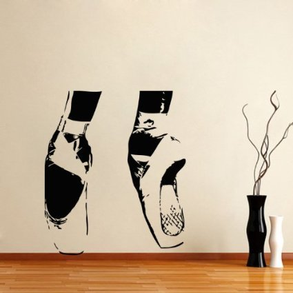 Large Wall Vinyl Decal Sport People Dancing Ballerina Girl Dancer Pointes Ballet Shoes Dance Studio Ballet Gym Home Art Decor Kids Nursery Removable Stylish Sticker Mural Unique Design 195