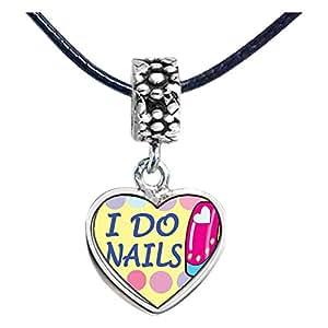 Chicforest Silver Plated I Do Nails Photo Flower Head Dangle Heart Charm Beads Fits Pandora Biagi Troll Chamilia Kay's Beads Charms