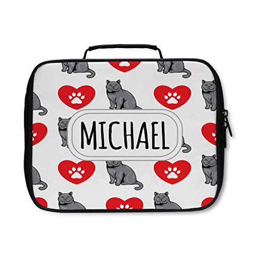 Nylon Insulated Lunch Box Custom British Shorthair Cat Pattern adults Food Bag