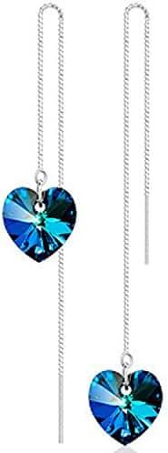 JOYJULY Women S925 Sliver Blue Swarovski Crystal Heart of the Ocean Long Earrings