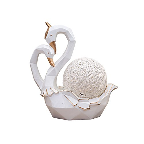 (HUAOMAMENTS Swan Vine Ball Table Lamp Ornaments Night Light Creative and Practical Living Room Bedroom Headboard Decoration Black White (Color : White))