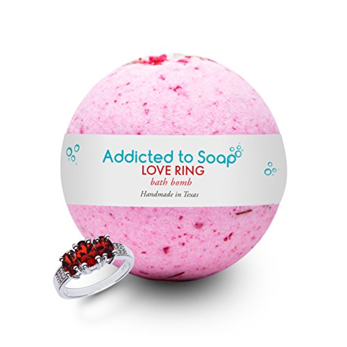 Addicted to Soap - Love Ring Bath Bomb | Ultra Luxurious - Extra Large 6oz Bath Bomb with STERLING SILVER RING Surprise Inside - Organic Sensual Relaxation Handmade