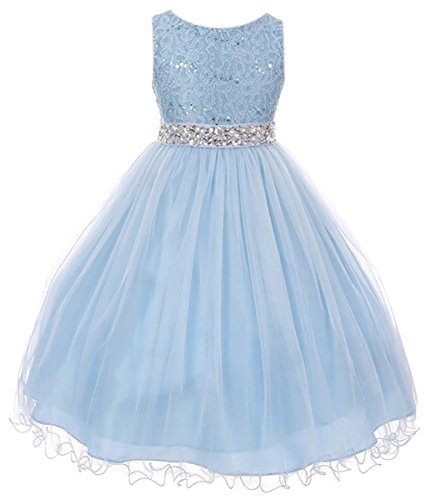 Big Girl Rhinestones Sequins Glitter Pageant Wedding Flower Girl Dress USA Ice Blue 14 MBK 340 ()